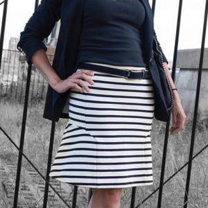 Ann Taylor | White & Navy Nautical Peplum Skirt